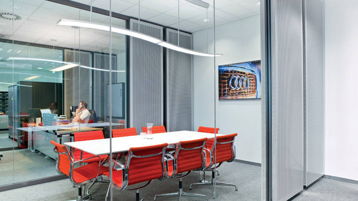 The meeting room of Audi lit by Philips lighting