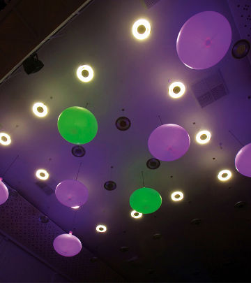 "Color-changing Philips LED modules were installed in these ""No Fruits"" light fixtures at Regardz Meeting Center"