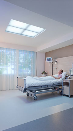 Healwell light transforming the patient room to get a completely different atmosphere